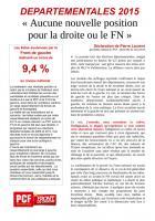Second tour des départementales 2015 - «Aucune nouvelle position pour la droite ou le FN»